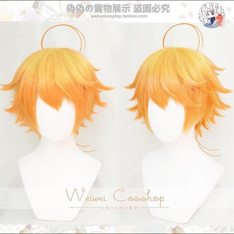 Peruca fantasia loira e laranja do neverland, peruca curta cosplay do neverland yakusoku no neverland emma + touca livre