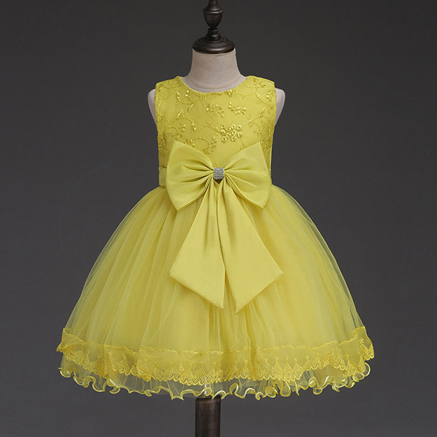Girls Yellow Tulle Lace Princess Dress Evening Wedding Birthday Party Forcks Big Bow vestidos Costumes For 2 4 6 8 10 12 Years girls tulle tailing embroidery lace bow dress for wedding birthday party manual nail bead frocks costumes size 4 6 8 10 12 years