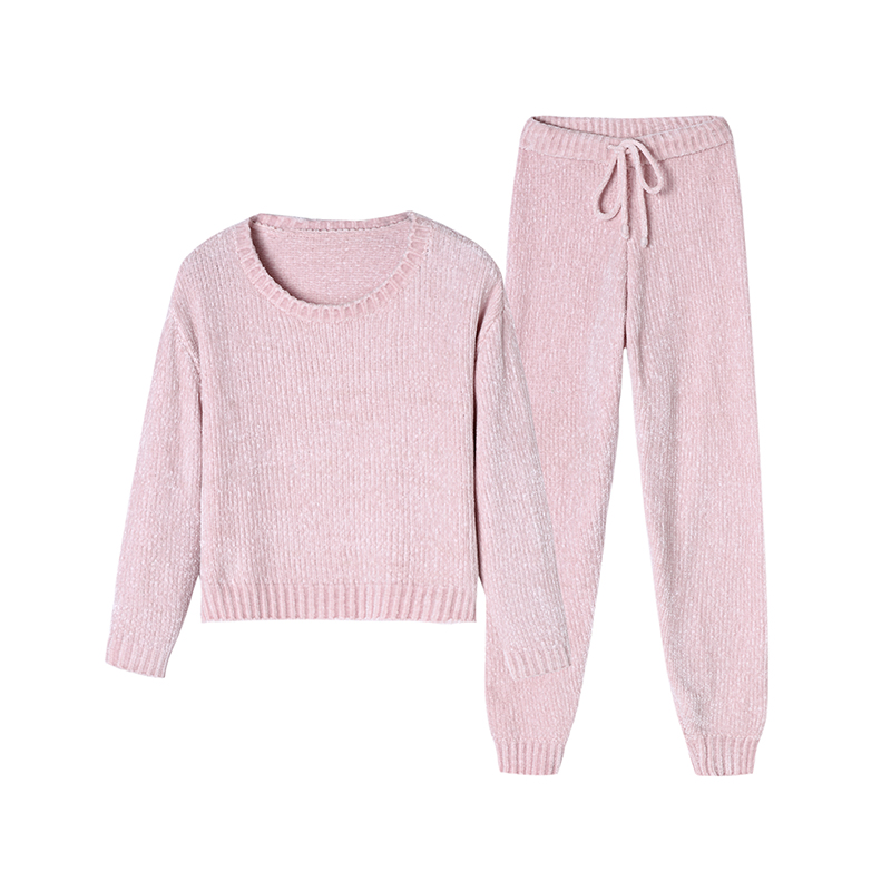 2pcs/set Chenille soft touch winter warm body home furnishing sleepsuit simple round neck velvet nightdress lady girls2pcs/set Chenille soft touch winter warm body home furnishing sleepsuit simple round neck velvet nightdress lady girls
