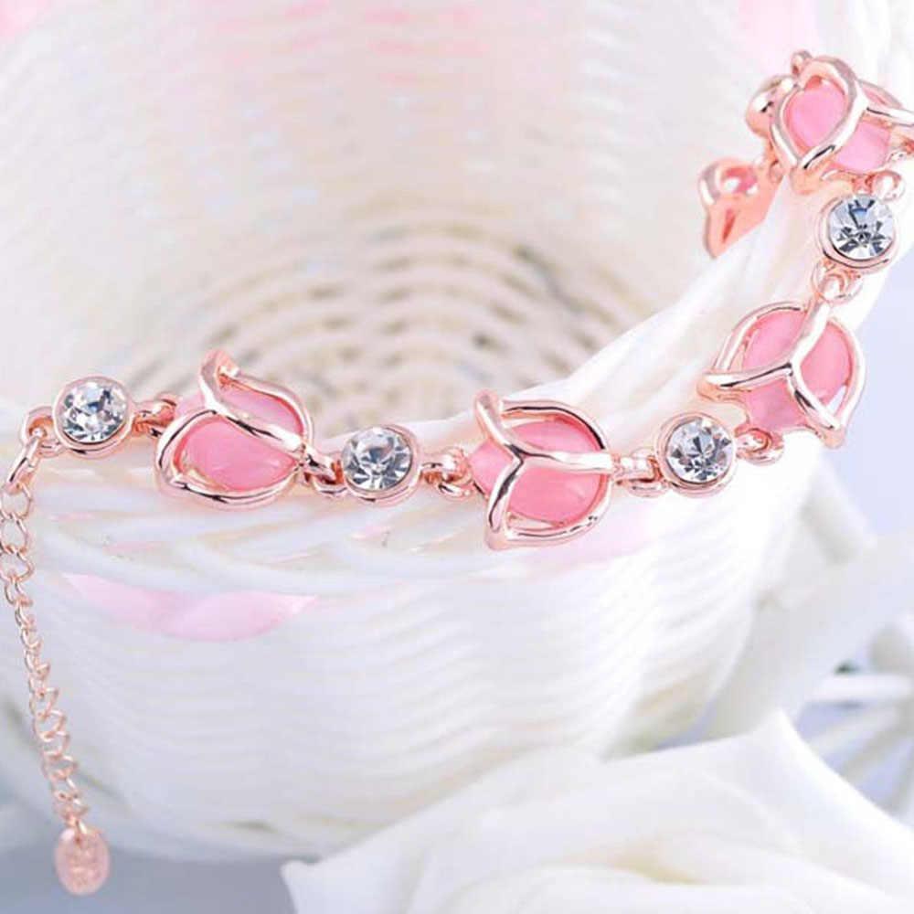 ホット繊細なファムファッション美容ロマンチックなかわいいラインストーンオパールチューリップチャームチェーンブレスレットの宝石類のギフト