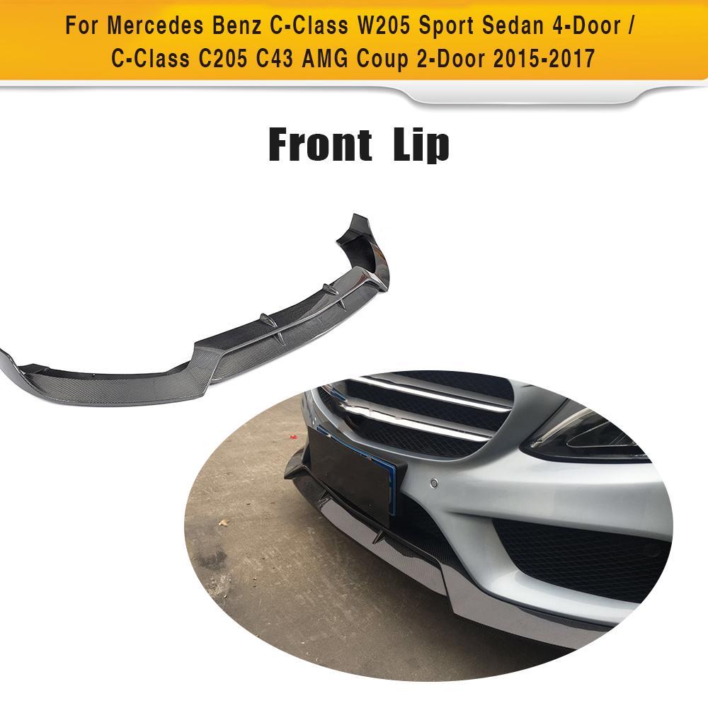 C Class Carbon Fiber Racing Front Lip Spoiler for Mercedes Benz W205 Sport Sedan 4 Door C205 Coupe Convertible 15-17 C43 AMG