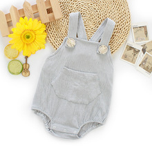 Fashion Summer Baby Suspender Pants Solid Boy Girls Cotton Cute Overalls Toddler Pants Rompers Newborn baby Jumpsuit clothes недорого