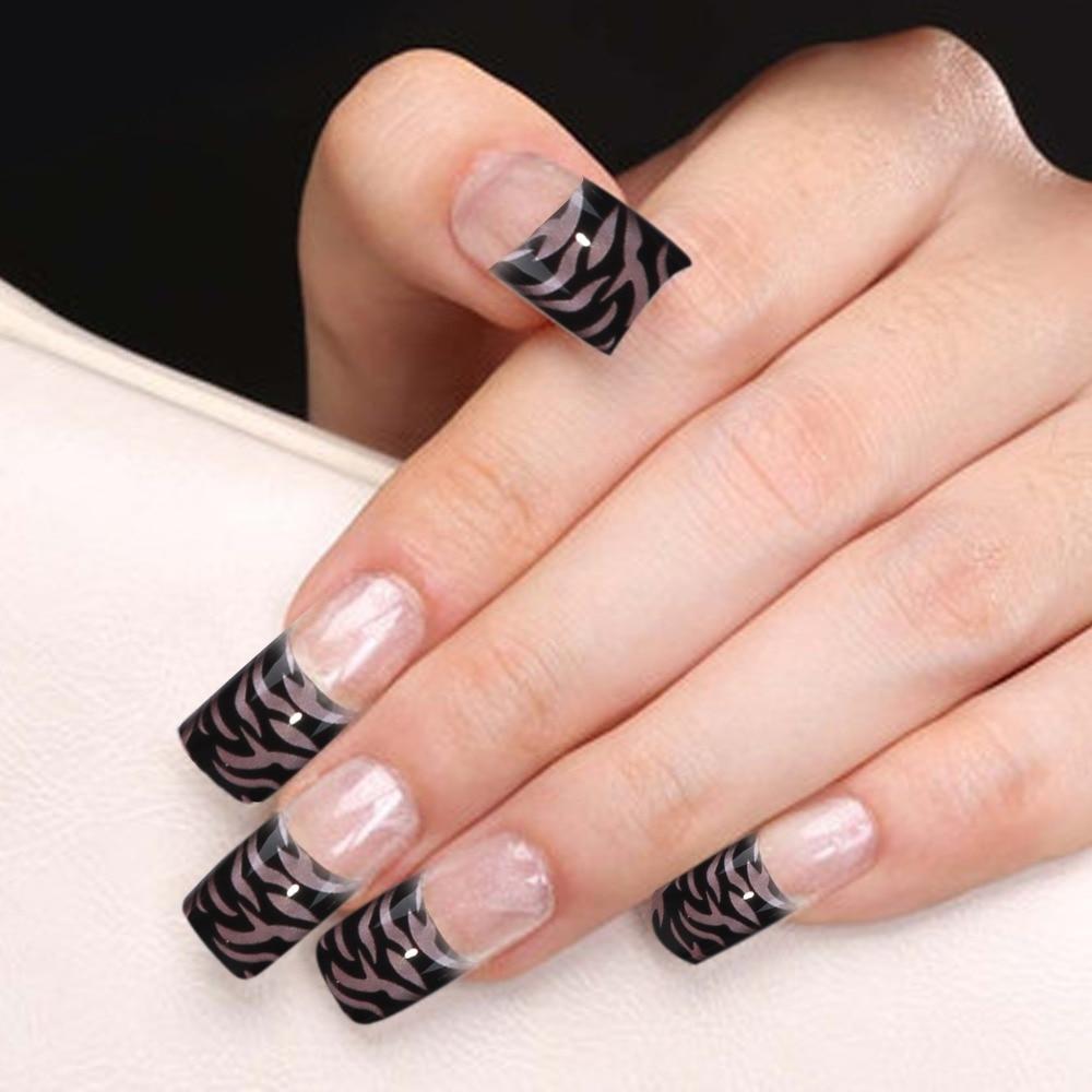 Yaoshun 70 Pcs Fashion Black Zebra Design Acrylic False Nails Half