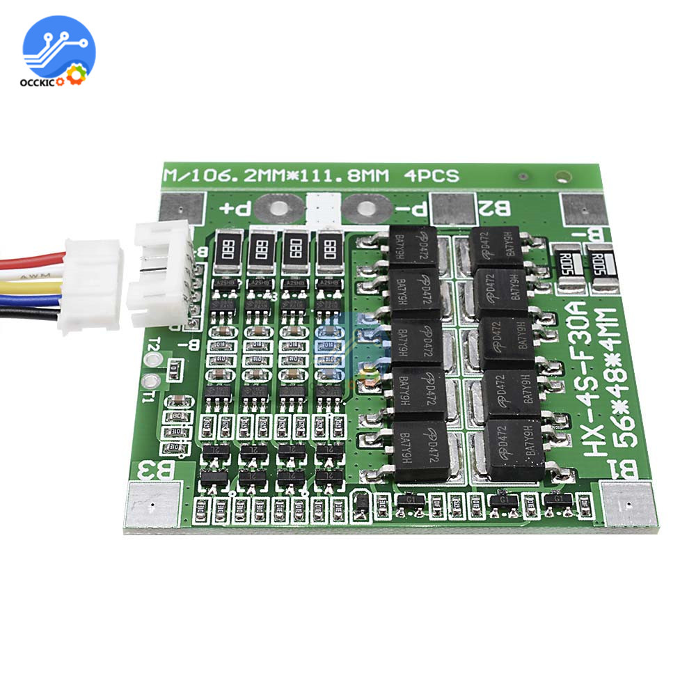 4S 30A 14.8V Li-ion Lithium 18650 Battery BMS Packs PCB Protection Board Module Balance Integrated Circuits With Wire 45x56X3mm
