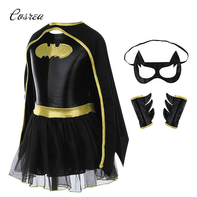 Movie The Batman Costume Child Girls Batman Batgirl Mask Fancy Dress High Quality Superhero Costumes Sets Outfits Festival Party
