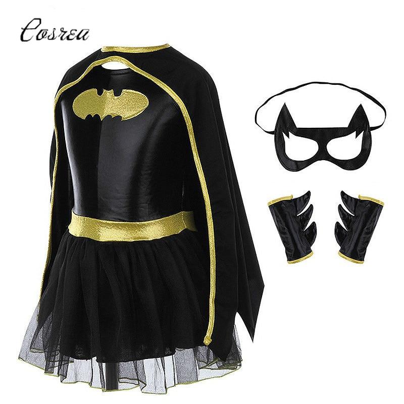 Movie The Batman Costume Child Girls Batman Batgirl Mask Fancy Dress High Quality Superhero Costumes Sets Outfits Festival Party
