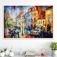 Vintage Home Decoration100% Handpainted Oil Knife Canvas Painting Retro Car in the Rainy Day Landscape Poster Wall Art Gift