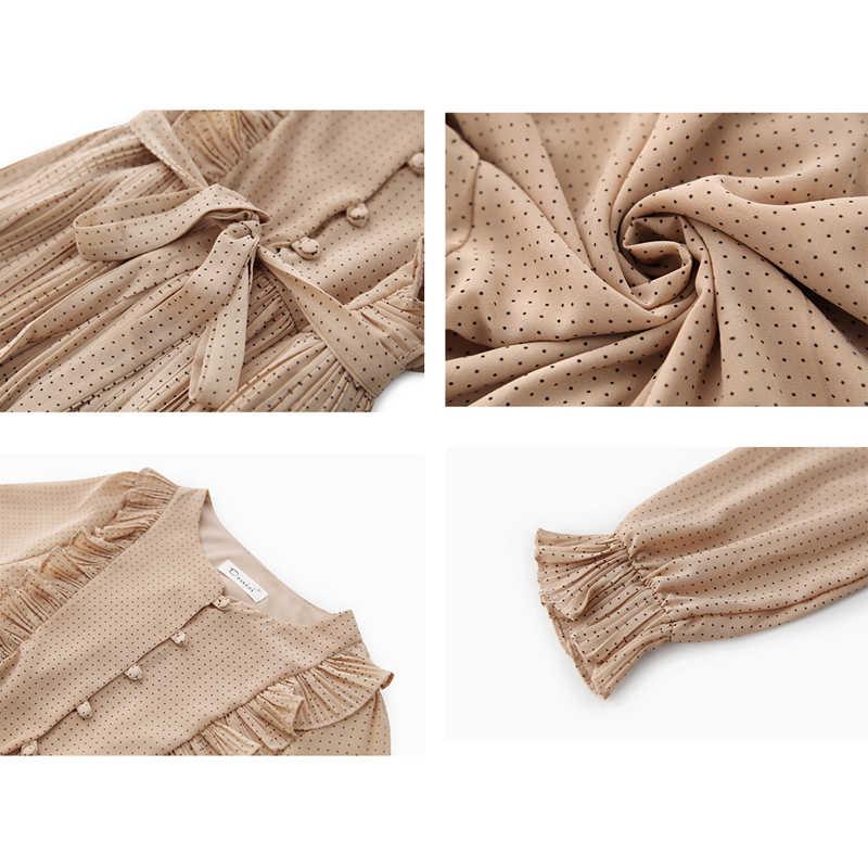 BGTEEVER, винтажное шифоновое женское платье с круглым вырезом и оборками, с расклешенными рукавами, в горошек, на шнуровке, женское платье, Двухслойное, плиссированное, Vestidos