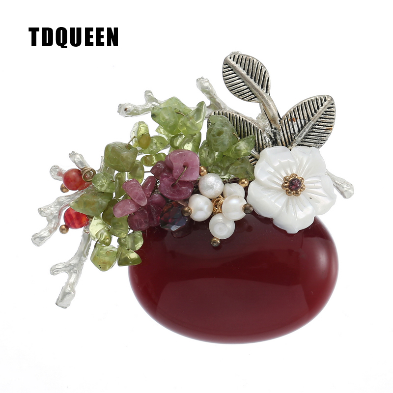 TDQUEEN Brooches Burgundy Natural Stone Broches Vintage Safety Pin Jewelry Pearl Shell Bead Flower Brooch for Women