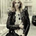 New Sexy Fashion Women Coat PU Leather Motorcycle Jacket Euro Style Slim Women Leather Jacket