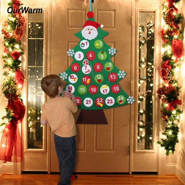 Ourwarm Рождество дерево Адвент Календари 2018 Новый год декор двери настенный Фетр Новогодние шоколадные календари Рождество Аксессуары для дома