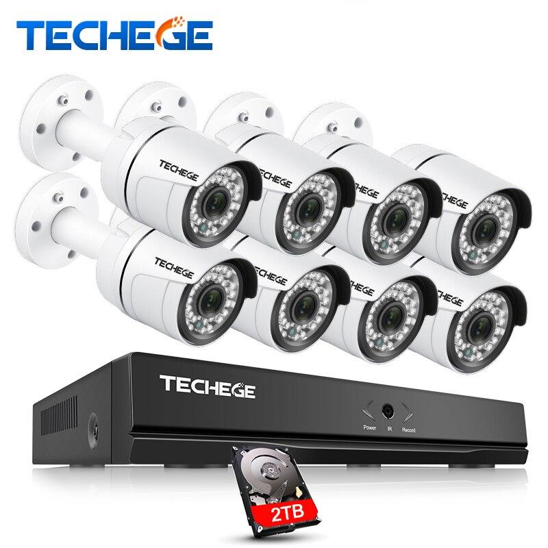 Techege 8CH 1080 p 48 v POE NVR 2.0MP 3000tvl Vision Nocturne POE IP Caméra P2P Nuage caméra système CCTV système Vidéo Surveillance