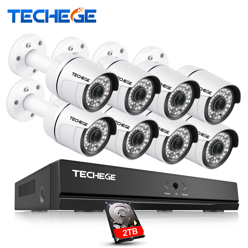 купить Techege 8CH 1080P 48V POE NVR 2.0MP 3000tvl NIght Vision POE IP Camera P2P Cloud camera system CCTV System Video Surveillance