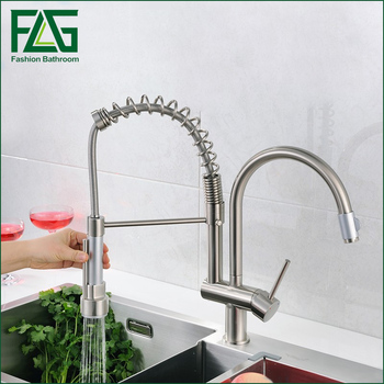 цена на Deck Mounted nickle brushed Brass Kitchen Faucet Pull Out Sprayer Vessel Bar Sink Faucet Single Handle Hole Mixer Tap