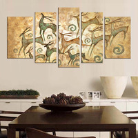 5 Pcs/Set Animal Elk Print On Canvas Painting Retro Abstract Deers Yellow Wall Picture For Home Decor Christmas Gift