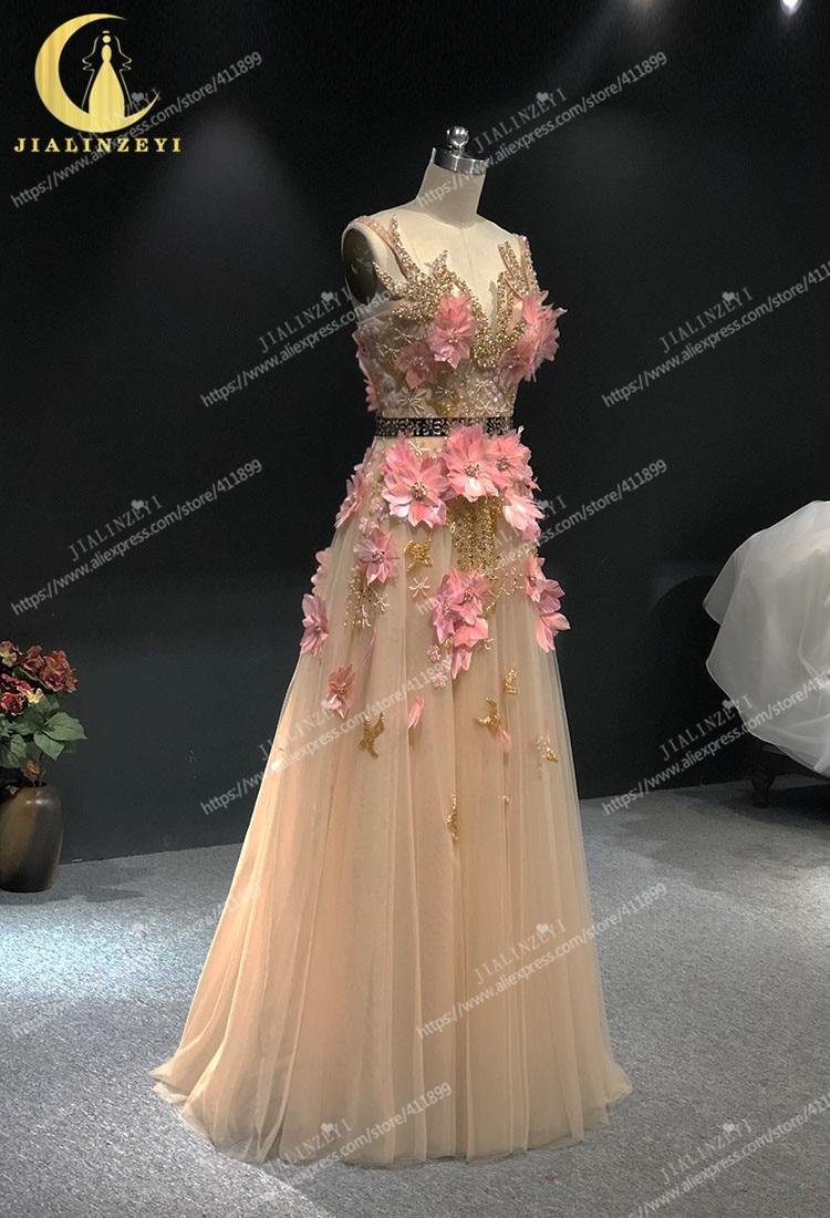 JIALINZEYI image réelle Champagne avec des fleurs de plumes roses longueur de plancher Elie saab robes formelles robes de soirée de fête - 2