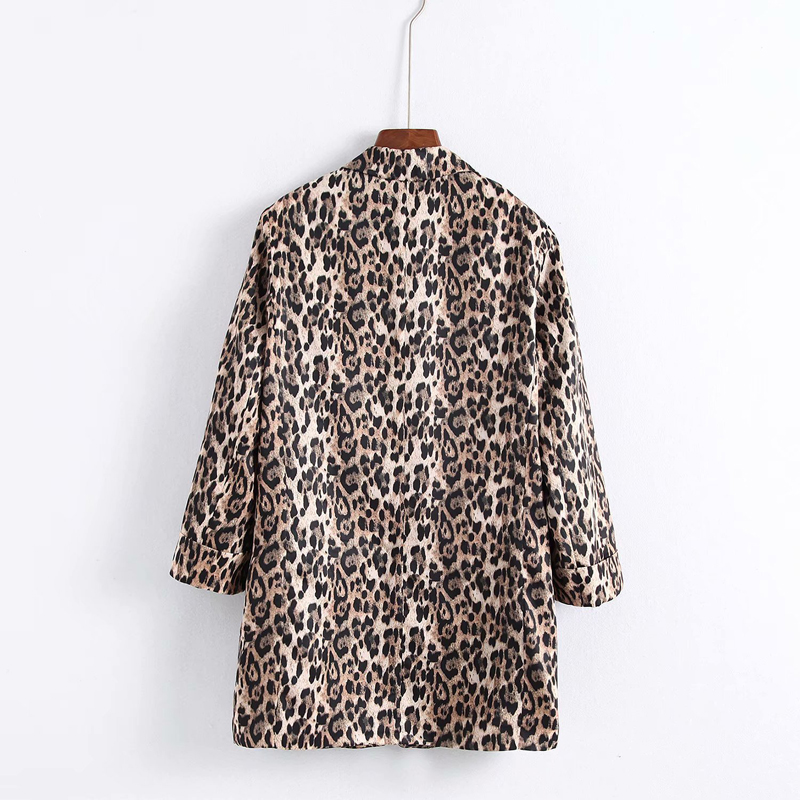 Sexy Leopard Pint Suit Jacket Women 2018 New Autumn Office Lady 3 4 Sleeve Slim Blazer Outwear in Blazers from Women 39 s Clothing