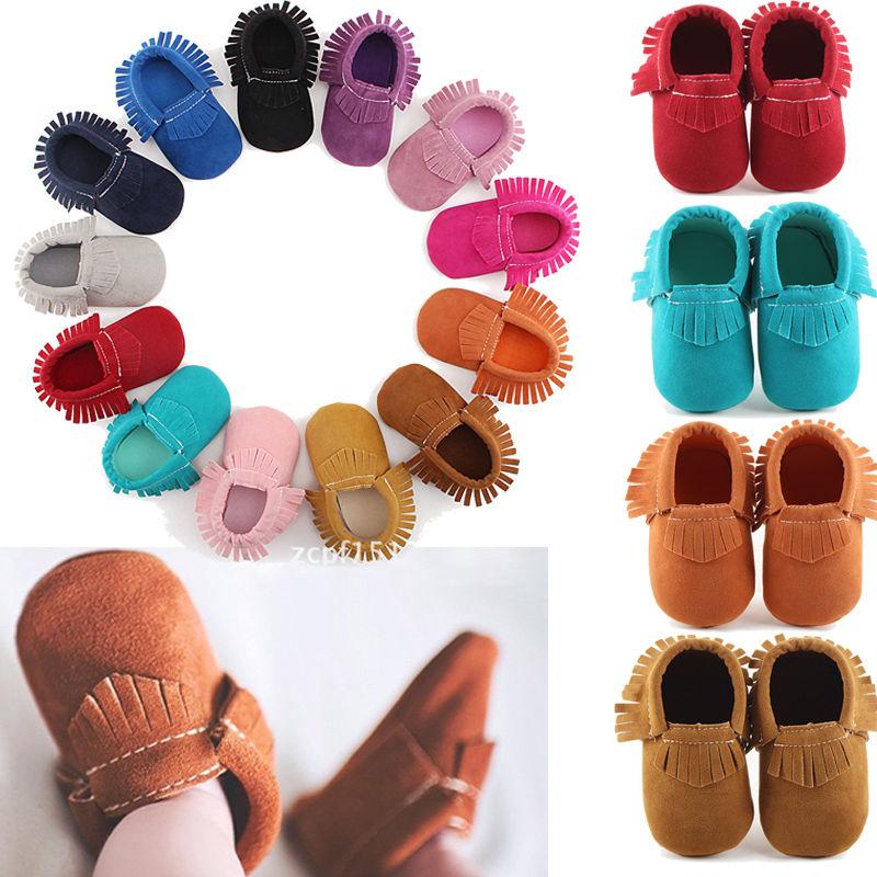 Newborn Baby Boy Girl Leather Tassel Flat Shoes Infant Toddler Prewalker