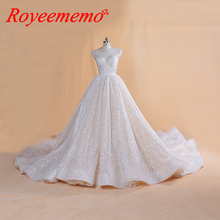 2019 new luxury lace wedding dress Royal train ball gown bling bling glitter lace wedding gown custom made Dubai bridal dress