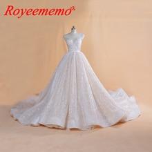 2019 nova luxury lace vestido de noiva Royal train vestido de baile bling bling glitter lace vestido de casamento feito sob encomenda de noiva Dubai vestido