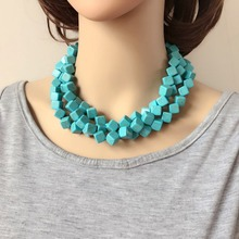 Three Layers Square Stone Chunky Necklace