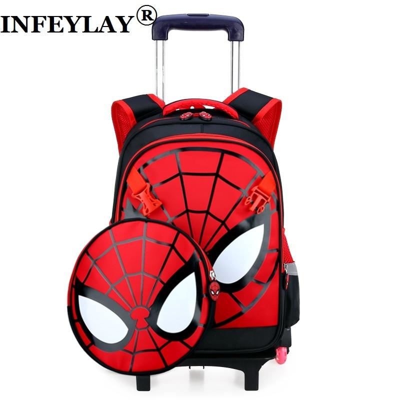 Monter les escaliers voyage bagages enfant cartable étudiants valise à roulettes enfants Spiderman sac à dos garçon cartoon sacs à bandoulière