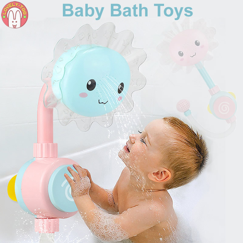 Baby Bath Toy Bathtub Showers Bathing spouts Suckers Folding Spray Faucet Play Bathroom Water Toys