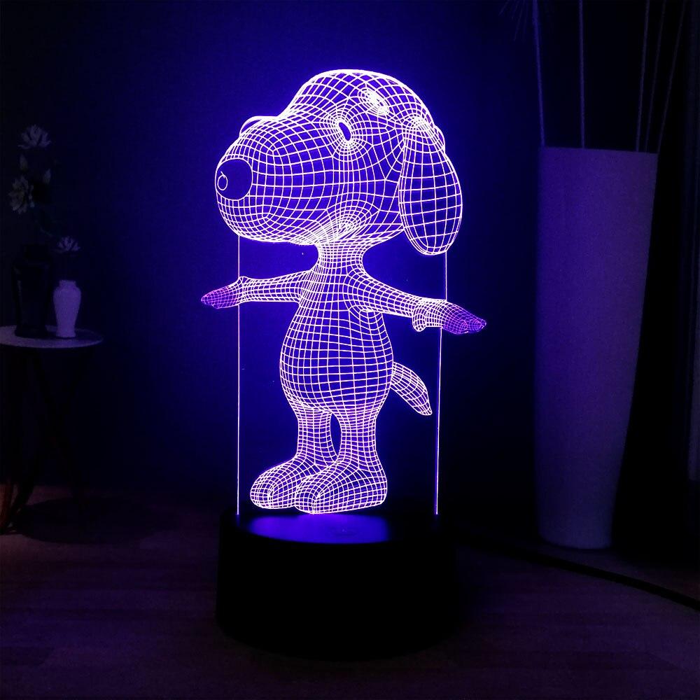 Stitch 3D Lucu Kartun Acrylic Panel LED 7 Warna Perubahan