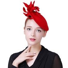Fascinator sombrero de fieltro de lana rojo mujeres sombreros negro moda  Vintage de las señoras boda Derby Fedora Chapeau Femme . 77232faf8a2e