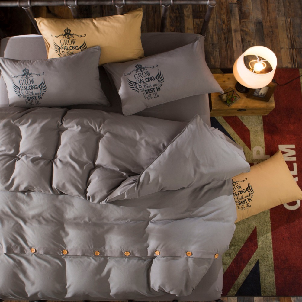 fashion cotton bedding sets luxury bed sheet set button design bedding set queenking size grey bedding for manin bedding sets from home u0026 garden on