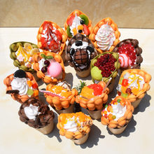 Egg Bubble waffle fake food model simulation ice cream eggettes puff waffle sample window display bubble waffle figures(China)