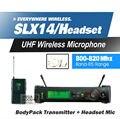 Бесплатная Доставка! SLX14 SLX1 UHF Профессиональная Беспроводная Микрофонная Система С Поясной Микрофон Гарнитуры Группа R5 800-820 МГц