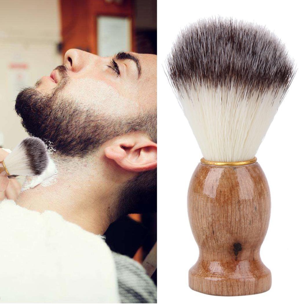 Men's Soft Hair Wooden Handle Beard Brush Cleansing Nylon Makeup Coffee Tools