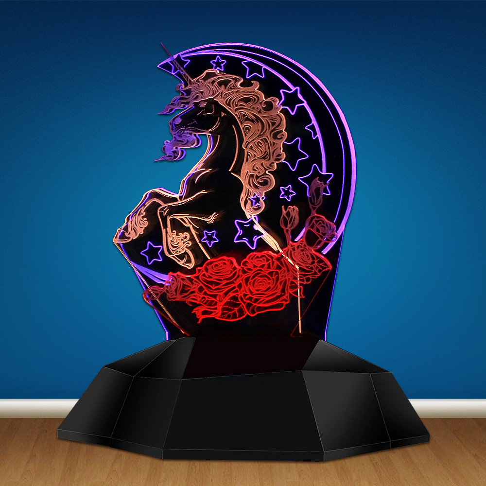 1Piece Unicorn With Crescent Stars and Roses 3D Line Light Pastel Goth Flying Horse 3D Optical Illusion Lamp Novelty Table Lamp free shipping 1piece new arrive marvel anti hero deadpool figure light handmade 3d bulbing illusion lamp led mood light for kid