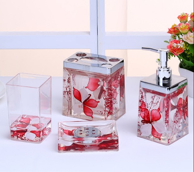 acrylic flower bathroom washing set 4pcs bathroom accessories kit soapbox toothbrush holder cup shower gel bottle