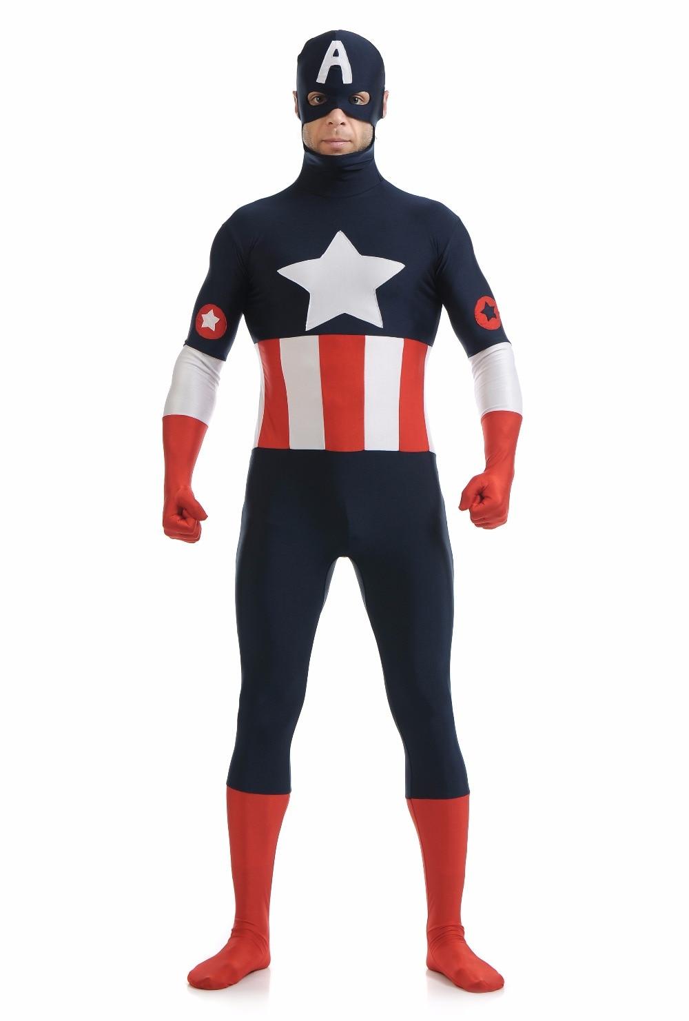 Adult Marvel Captain America Costume Mens Avengers Halloween Cosplay Costume Spandex Lycra Full Body Zentai Suit With Hood