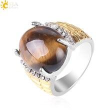 190d29dda8ba CSJA barato marrón Natural piedra de ojo de tigre partido anillos de oro  Color Sanación Reiki