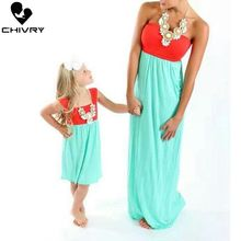 Chivry Mother Daughter Dresses Sleeveless Patchwork Dress Mother Daughter Clothes Mom and Daughter Dress Family Matching Clothes