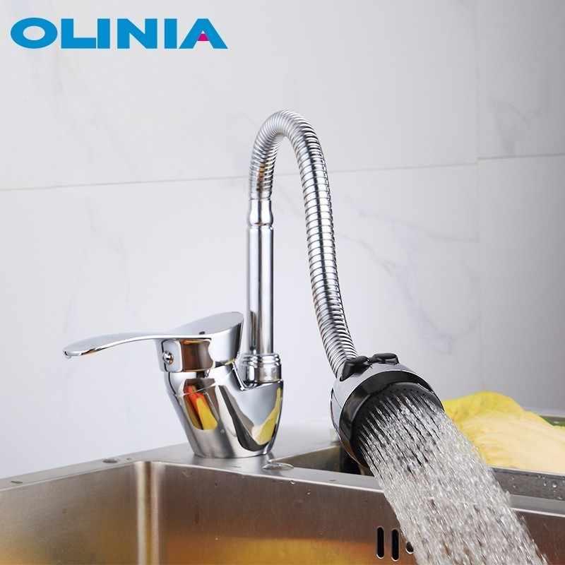 Olinia ก๊อกน้ำอ่างล้างจานโลหะผสมสังกะสีเดี่ยว 360 ° หมุนร่วมสมัยยอดนิยม Cold & Hot Water ความสะดวกสบาย OL8095W