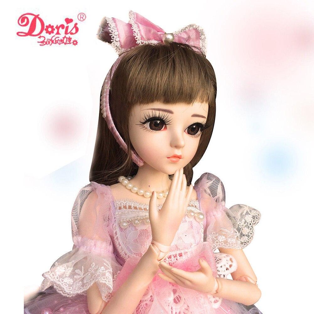 24 Full Set + Makeup Pink Girl 1/3 60cm Doris BJD Doll SD Doll jointed dolls Toy Action Figure Gift for Girls Children 24 full set bjd doll devil manager men chinese manager ball jointed dolls sd doll toy boyfriend boy gift for boy children