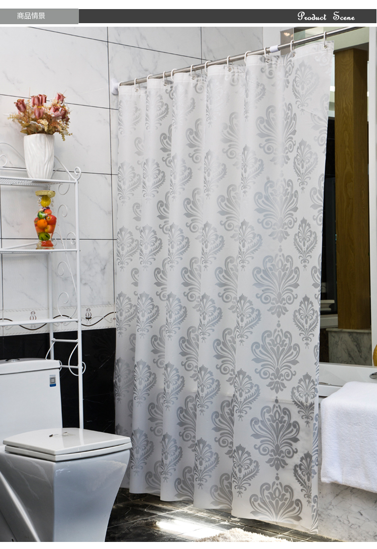 The Shower Curtain For The Bathroom Thickening Fashion Vintage Silver Flower Bath Curtains In