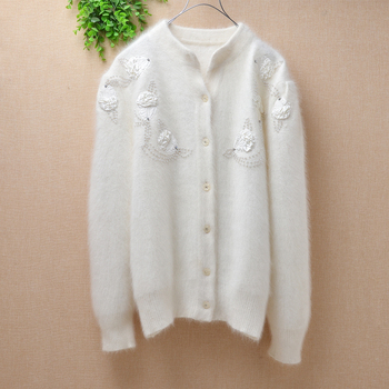 Ladies women vintage floral beading real angora rabbit fur knitted crochet long sleeves cardigan sweater coat winter top quality