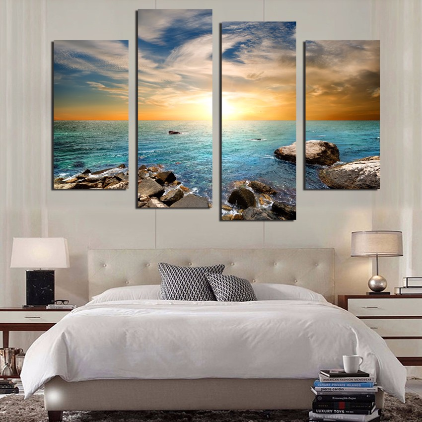 four panels of marine stone seal on the canvas canvas painting wall art modern avatar, home decoration for living room