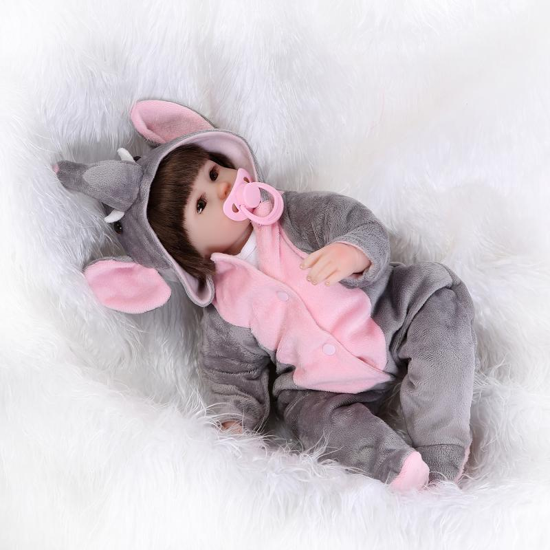ФОТО 42cm Soft silicone reborn baby doll toys play house girl doll handmade lifelike fashionable gifts for girls dolls collection