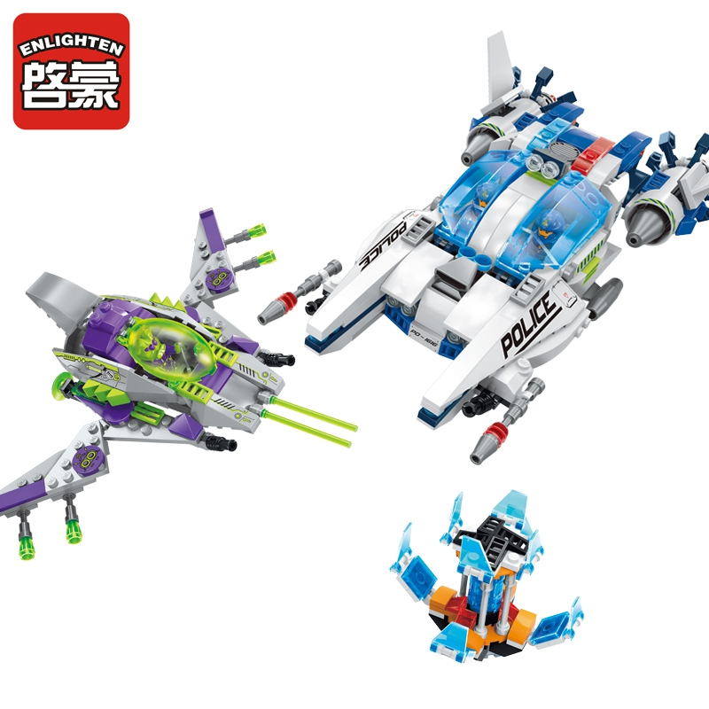 ENLIGHTEN 1616 Children Blocks Toys Space Adventure Series 517Pcs Assembled Model Space Police Building Blocks Toys for Children enlighten building blocks navy frigate ship assembling building blocks military series blocks girls