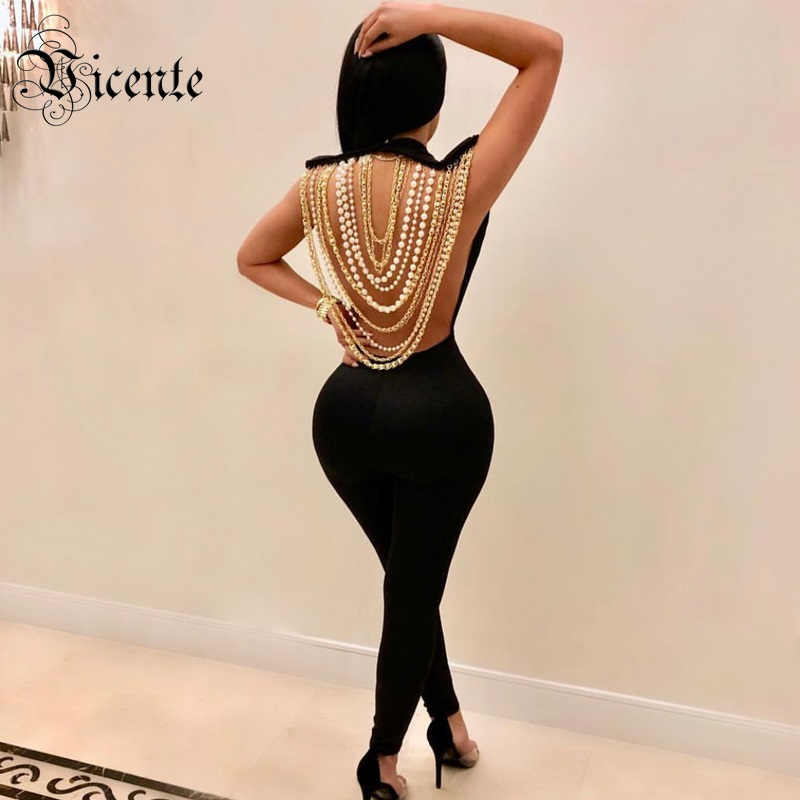 Free Shipping 2018 New Top Deign Gorgeous Beading Chain Embellished Sexy Backless Wholesale Celebrity Style Bandage Jumpsuit wholesale 2016 new elastic knitted ladies fashion blue beading bandage strap crop top
