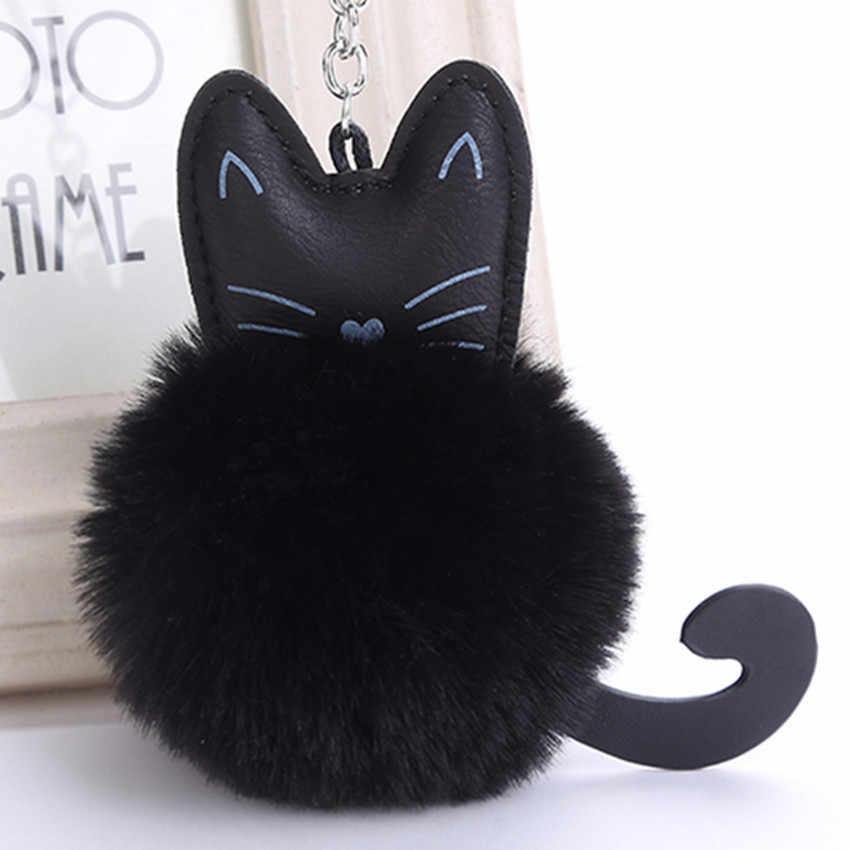 Novos Pingentes de Animais Gato chaveiro pele do saco das mulheres da Pele Do Falso Pom Pom Gato Saco Chave Do Carro Anel feminino Presente Charme jóias K1624