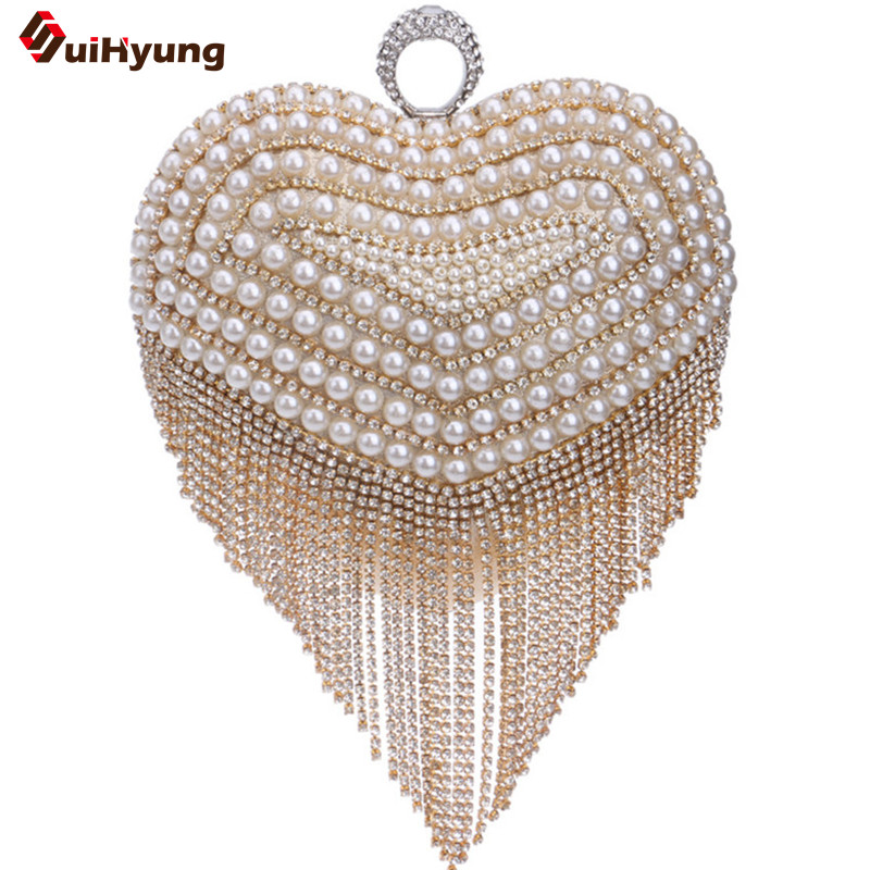 New Women s Diamond Ring Tassel Clutch Rhinestone Pearl Stitching Heart shaped Evening Bag Wedding Party
