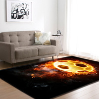 3D Burning Soccer Mats Bedroom Playroom Living Room Boys Gift Room Decoration Football Carpets Area Rug Flannel Rugs and Carpet