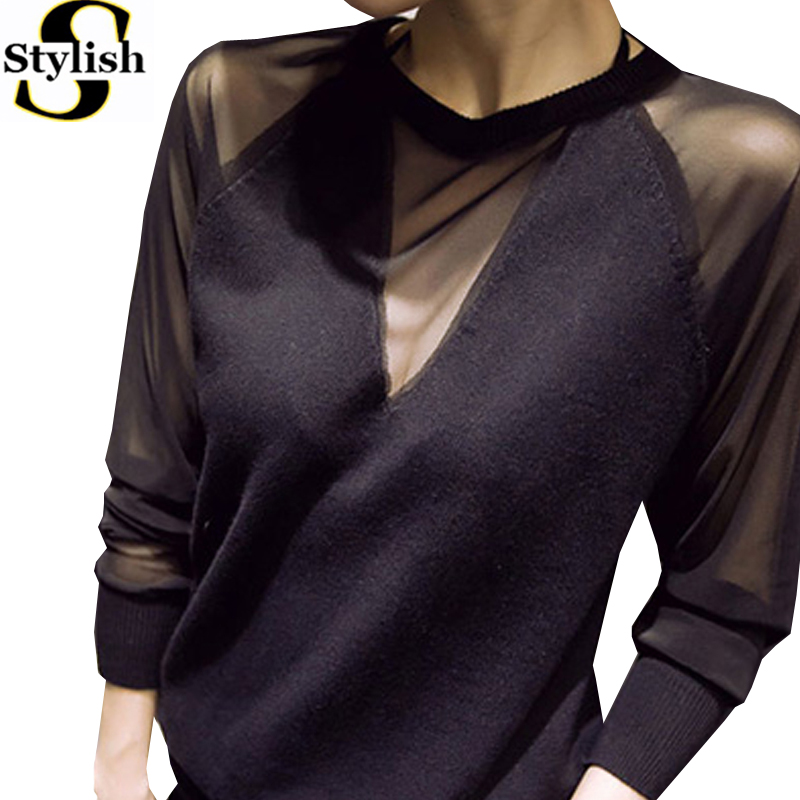 Black Blouse Shirt Women Autumn 2016 New Korean Style Fashion Sexy Mesh Patchwork Tops O-neck Long Sleeve Shirt Female Clothing Chemisier